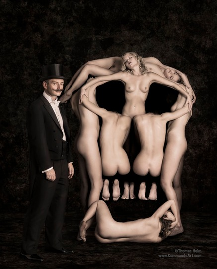 In Voluptas Mors is an image of 7 women standing naked together and collectively the make the shape of a skull. Models are Rakel (twice), Heidi, Anne Sidse, Janni, Shelma, and Nadia.